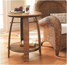 There's a guy who sells these tables on the weekend at the intersection of 166 and 101.  Actually he sells a truckload of things made from wine barrels.  One of these days this will be in my house.