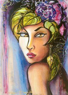 """Reproduction d'art numérotée signée portrait art déco rétro """"Intense"""" : Affiches, illustrations, posters par la-perruche-de-rio"""