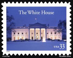 """White House's 200 Years postage stamp presented on October 17, 2000 - With the issuance of this stamp, the U.S. Postal Service commemorates the 200th anniversary of the White House as the official residence of the American President. Once known as the """"President's House"""" and the """"Executive Mansion,"""""""