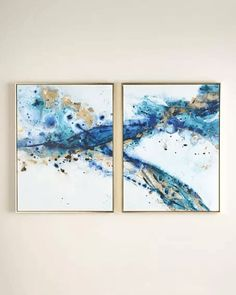 """""""Azure Canyon"""" Giclees 2 Panel Framed Wall Canvas Painting 