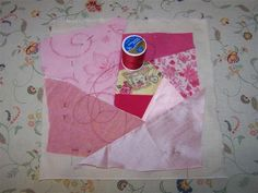 Now to baste in the 6 and 61/2 inch squares. I like to use a contrasting sewing thread so it's easily visible. I start basting with a runni...