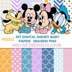 Layouts e templates para blogs e lojas virtuais Baby Disney, Disney Mickey, Kit Digital, Baby Freebies, Disney Cards, Baby Kit, Digital Scrapbooking, Digital Papers, Pattern Paper