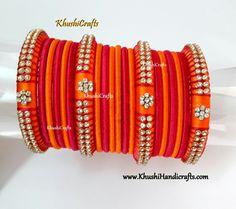 Orange and Pink Silk thread bangles!