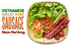Vietnamese Grilled Pork Sausage (Nem Nuong) — Vietnamese Home Cooking Recipes Vietnamese Sausage, Vietnamese Grilled Pork, Vietnamese Cuisine, Vietnamese Recipes, Pork Recipes, Asian Recipes, Chicken Recipes, Cooking Recipes, Yummy Recipes
