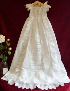 Superb Victorian Christening Gown Lots Of Lace & Ruffles.