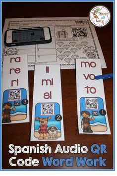 Spanish Initial Syllable Audio QR Codes Pirate Word Work Stations
