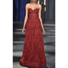 Monique Lhuillier Strapless Ball Gown ($6,495) ❤ liked on Polyvore featuring dresses, gowns, full length gowns, naeem khan gowns, red ball gown, naeem khan dresses and red gown