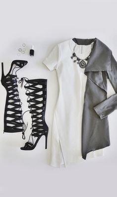 Stitch Fix- I love the asymmetrical white dress, but would never wear shoes like this.