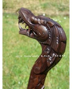 Fairtrade Solid Wooden Dragon Walking Stick (C)