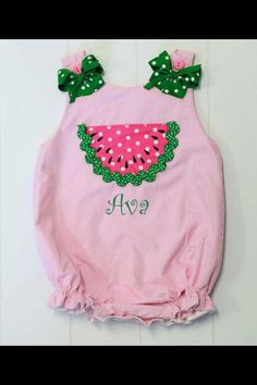 Watermelon romper with her name.