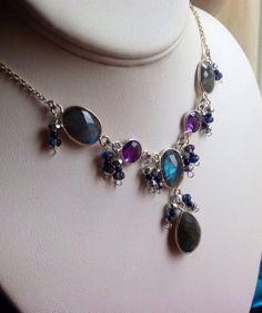 Amethyst and Labradorite Necklace Fine Jewelry 4 by JewelryByShari, $123.20
