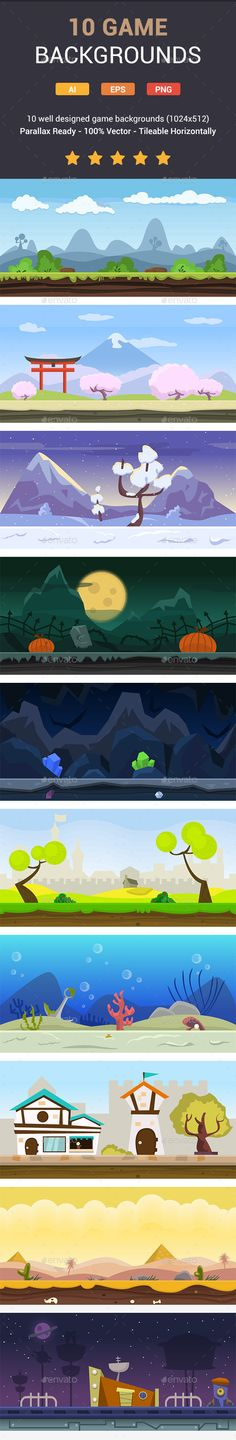 10 Fresh Game Backgrounds - Backgrounds Game Assets | Download…