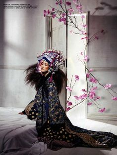 "Vogue Korea ""Fadeless Flowers"" Model Lee Hyun Yi is dressed in the traditional Korean dress."