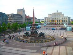 Een van de pleinen in Leipzig