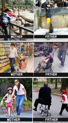 Haha, Klischee pur - aber mit einem Körnchen Wahrheit: http://www.gofeminin.de/familie/mama-vs-papa-s1446351.html
