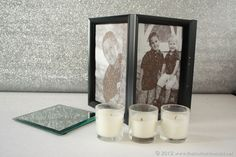 Create personal picture frame luminaries using dollar store supplies and your favorite family photos! Dollar Store Christmas, Dollar Store Crafts, Diy Christmas Gifts, Dollar Stores, Christmas 2015, Christmas Ideas, Xmas, Holiday, Picture Cube