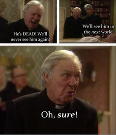 Love when Father Ted included members of the priesthood who weren't having any of the whole Catholicism thing! Ted Quotes, What Is Drama, Mrs Browns Boys, Vicar Of Dibley, Father Ted, Comedy Tv Shows, Silly Pictures, Classic Comedies, British Comedy