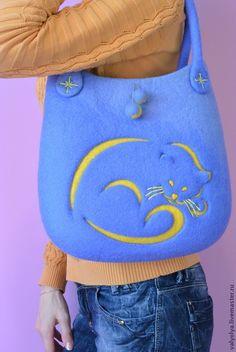 """Купить Сумка валяная """"Лунный кот"""" - валяная сумка, сумка валяная войлочная, валяная сумочка ♡"""