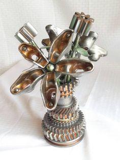 Flower Power by Frost Auto Décor Metal Art Garage Industrial Steampunk Car Part Engine; COPPER