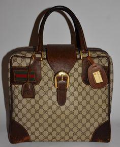 Gucci Vintage Shoulder Bag  Handbag Satchel Monogram Brown Gg Canvas    Leather Weekend Travel Bag 90% off retail 25781506a8581