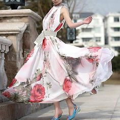 Women's Floral Pink Dress, Vintage/Maxi Stand Ruff Collar Sleeveless Swing - CAD $19.45 ! HOT Product! A hot product at an incredible low price is now on sale! Come check it out along with other items like this. Get great discounts, earn Rewards and much more each time you shop with us!