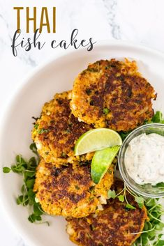 Easy Thai fish cakes with red curry paste, ginger, cilantro and lime. 15 minutes from start to finish, try these for a flavourful appetizer or with a salad for a light and healthy meal. Easy Appetizer Recipes, Fish Recipes, Meat Recipes, Seafood Recipes, Whole Food Recipes, Vegetarian Recipes, Dinner Recipes, Healthy Recipes, Pescatarian Diet