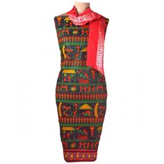 Suit From Gujarat In Black & Red With Dupatta