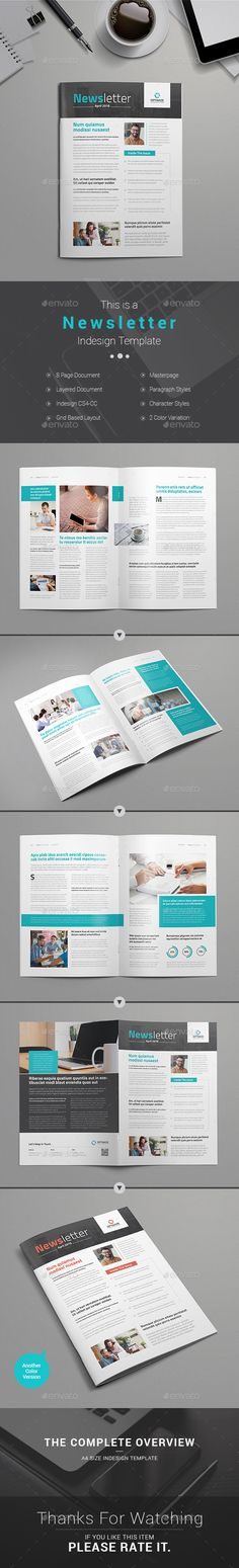 Newsletter Template InDesign INDD. Download here: http://graphicriver.net/item/newsletter-template/15226821?ref=ksioks