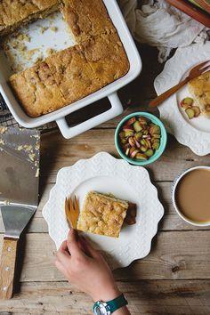 Rhubarb Coffee Cake #recipe | FoodforMyFamily.com