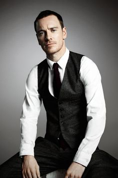 Michael Fassbender—classic vest, tie, and shirt.