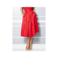 Eva Mendes Collection Mari Tie-Waist Midi Skirt ($48) ❤ liked on Polyvore featuring skirts, red, tie waist skirt, party skirts, ruched skirt, gathered skirt and cotton skirts