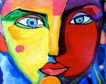 original portrait painting, face, colorful face, third eye, painting of face, wisdom, painting of flowers