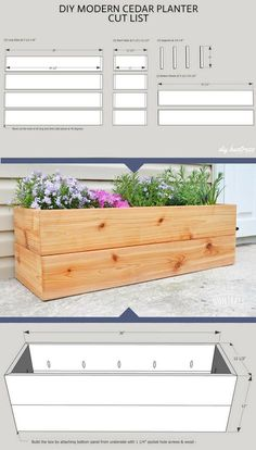 Building A Deck 357965870378529335 - Building a spot for your very own Garden of Eden shouldn't feel like a hard task. Learn how to build this easy Modern Cedar Planter in just a few steps! Source by leacats Garden Planter Boxes, Cedar Planters, Building Planter Boxes, Long Planter Boxes, Outdoor Planter Boxes, Planter Box Plans, Pallet Planter Box, Jardin Deden, Garden Cottage