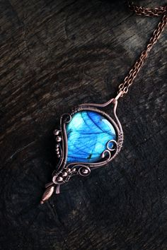 Bright blue labradorite pendant was wire wrapped of copper wire. The wire wrapped pendant is one of a kind pendant ,Labradorite pendant OOAK Wire wrap pendant Wire by TiKorali