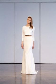 Wedding dresses for every style, including a two-piece look. We love this ball skirt and matching long-sleeve crop top.