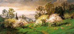'Flowering Trees', Oil On Canvas by Jasper Francis Cropsey (1823-1900, United States)