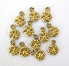 Vintage Brass Flower Charm Tiny Gold Drop by BumbershootSupplies, $3.50