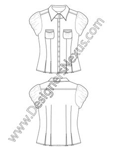 Shirt Flat Sketch V7 Fitted Short Sleeve Blouse with Bubble Sleeves and Inverted Box Pleats at Hem
