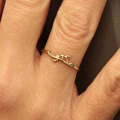 Tiny Gold Arabic Name RingSterling Silver by HANDMADESILVERWORKS