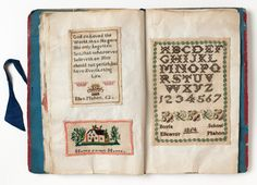Ellen Mahon's sampler book, Irish, made between 1852 and 1854. From The Museum of Childhood, London.