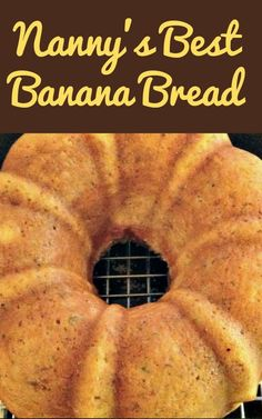 bundt cake with cream cheese drizzle.Nanny's BEST Banana Bread is a lovely soft, moist cake and absolutely delicious with the glaze poured over! A nice, easy recipe and freezer friendly too! Banana Bundt Cake, Moist Banana Bread, Best Banana Cake Recipe Moist, Banana Bread Bars, Bread Cake, Dessert Bread, Bunt Cakes, Cupcake Cakes, Cupcakes
