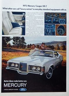 1972 Mercury Rare 1970 s print ad Color Illustration cougar XR 7 original 1971 magazine art