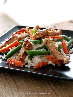Salata de orez cu porc si legume ~ bucatar maniac