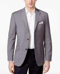 Alfani Men's Slim-Fit Gray Check Sport Coat, Only at Macy's