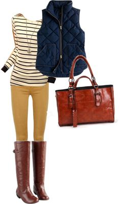 Vest, boots, striped sweater. I'd swap the vest for a blazer. Love the mustard yellow pants.