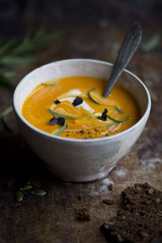 Roasted Butternut & Coconut Soup gluten-free. INGREDIENTS:   1 butternut squash or hokkaido pumpkin;   1 can (1 3/4 cup / 400 ml) coconut milk;   1 cup (240 ml) boiling water;   1 sprig fresh rosemary (save 1/2 for serving);   1/2 – 1 inch (1-2 cm) fresh ginger, peeled and grated;   2 tbsp apple cider vinegar;   sea salt & freshly ground black pepper, to taste.  Source: GreenKitchenStories.com