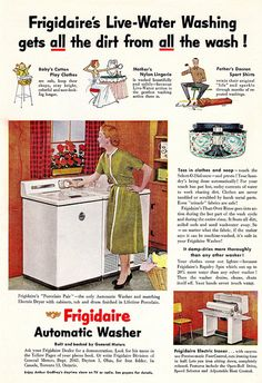 Pose Like a Model while Starting Your Washing Machine! Advertising History, Old Advertisements, Retro Advertising, Retro Ads, Vintage Ads, Vintage Photos, Vintage Stuff, Vintage Appliances, Vintage Laundry