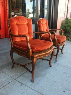 Pair of vintage cane club chairs