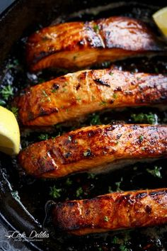 Grilled Browned Butter Honey Garlic Salmon by cafedelites #Salmon #Honey #Brown_Butter