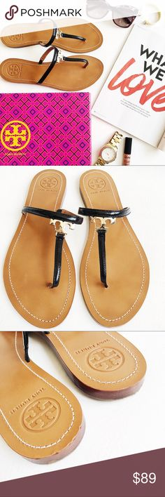 Tory Burch T Logo Sandals Tory Burch T Logo Sandals in black patent featuring gold logo.  Simple but chic.  Like new, only worn a few times.  Minor signs of wear on heel, see pic.  No other scratches or damage.  Original box and dustbag included. Tory Burch Shoes